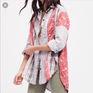 Free People Patchwork Button Down Shirt